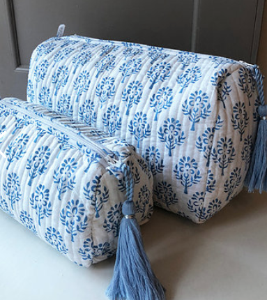Blue Sprig Handblocked Quilted Bath Bag