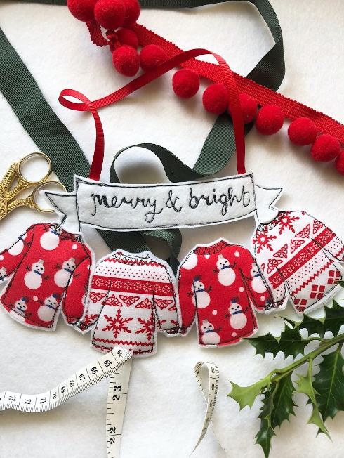 Merry and Bright Christmas Jumpers in red or grey hanging decoration