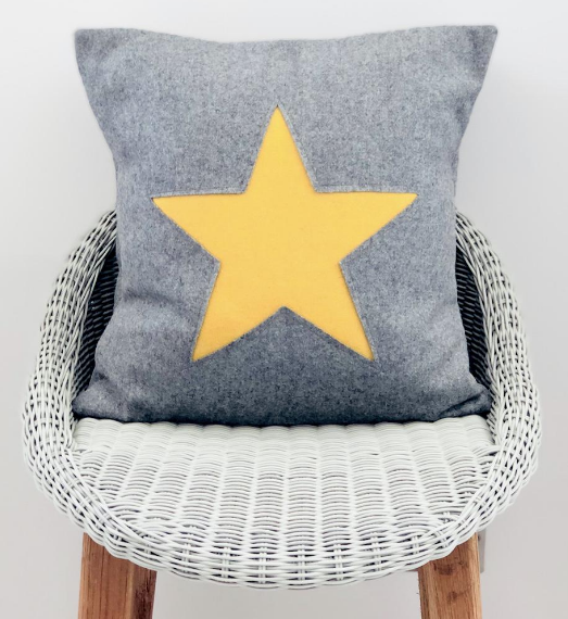 Grey and Yellow Star Cushion