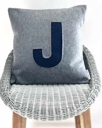 Monogrammed Grey and Navy cushion